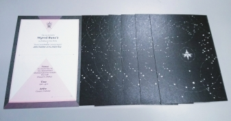 The back of the invitation card is a customized design tuned to the constellation theme.